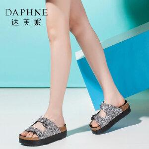Daphne/达芙妮夏款女鞋 时尚扣带拼色厚底松糕女鞋凉拖-