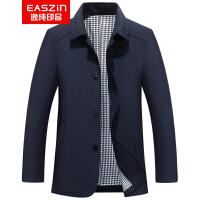 EASZin 春秋新款翻领男士风衣英伦薄款休闲中长款中青年夹克外套