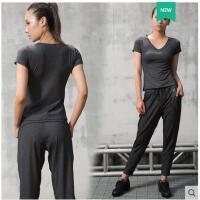 简洁V领气质修身瑜伽服套装速干健身衣女运动服装透气锦纶含胸垫