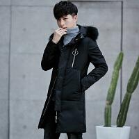 冬季长款过膝加厚羽绒服男韩版修身特价男士外套反季中长大衣 黑色 M