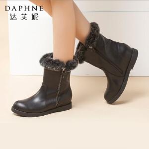 达芙妮正品女鞋冬季休闲中筒靴内增高时尚女靴子平底拉链女棉短靴