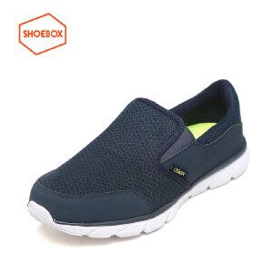 达芙妮旗下SHOEBOX/鞋柜春季新款休闲鞋男低跟套脚网布男鞋