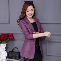 女士皮衣春装新款韩版修身中长款中年百搭大码春秋pu皮外套
