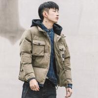 冬季新款日系短款撞色韩版潮牌棉衣男连帽外套青年加厚棉袄男