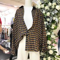 韩国ulzzang2018春装新款宽松百搭撞色格子衬衫女学生长袖上衣潮