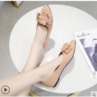 尖头单鞋女平底搭潮款新款浅口工作鞋女黑色女鞋女单鞋学生