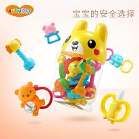 澳贝婴儿玩具新生儿放心咬咬乐10只罐装3-6个月宝宝益智牙胶摇铃