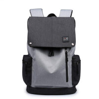 FDH双肩包男士休闲背包韩版防水帆布旅行包高中生初中学生书包电脑包 黑灰色