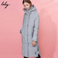 Lily2017冬新款修身中长款外套真毛领连帽羽绒服117429D1914