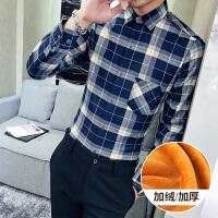 秋冬季加绒衬衫男带绒长袖加厚休闲格子保暖衬衣青年修身装外套寸衫