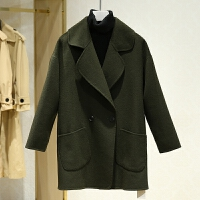 双面呢大衣女冬装新款 翻领中长款纯色百搭休闲毛呢外套