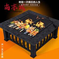 ��烤桌�敉饽咎客ピ��烤�t子多功能��烤架5人以上家用取暖烤火盆 黑色不���烤�W