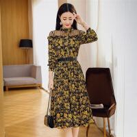黄色纱网型印花拼接长裙长袖年春季圆领单件花色连衣裙