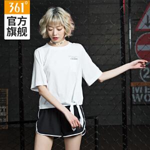 361度女装2018秋季新款时尚潮流短袖短款时尚蝴蝶
