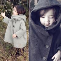 韩国童装秋冬新款韩版男女童连帽呢子大衣儿童加厚加绒外套潮