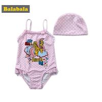 巴拉巴拉儿童泳衣女童连体游泳衣夏装新款小童宝宝三角式泳装