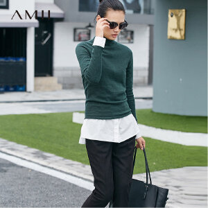 【品牌团 1件7折/2件5折】AMII[极简主义]简约实穿 100%羊毛衣女 2017秋冬新半高领修身上衣