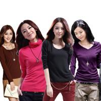 秋冬季韩版女装牛奶丝加绒打底衫纯色修身长袖T恤