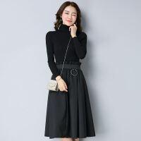 春季连衣裙女18新款版时尚显瘦高领长袖打底裙中长款A字裙