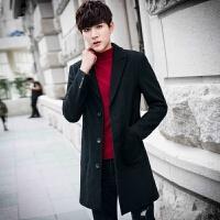 男士毛呢大衣中长款秋冬季韩版修身潮流风衣青年休闲呢子外套