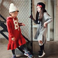 秋冬款亲子母女装连衣裙韩版女童纯棉抓绒卫衣裙中大儿童休闲长裙