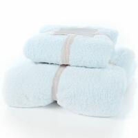 2件装浴巾毛巾珊瑚绒柔软加厚公司福利婚庆回礼 浅蓝色 阿宝色 140x70cm