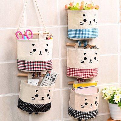 宿舍可爱 布艺挂袋收纳袋墙悬挂式 挂墙上墙壁门后卫生间储物袋