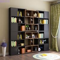 书橱简约现代书柜书架创意家具简易酒柜自由组合客厅书房柜子带门 1.4米以上宽