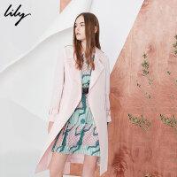 【开学季到手价:299元】 Lily春季新款风衣女装OL通勤纯色系带风衣基础款风衣118140C1213