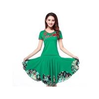 新款广场舞服装套装刺绣花短袖上衣跳舞蹈裙子表演出服装 绿色 短袖