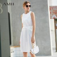 Amii�O�小�赓|香�L背心�B衣裙夏新款白色�o袖收腰�@瘦裙子女