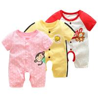 女宝宝婴儿连体衣0岁9个月春夏季新生儿睡衣薄款开裆哈衣爬服夏款