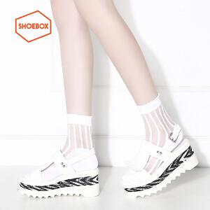 达芙妮旗下SHOEBOX/鞋柜流苏铆钉凉鞋厚底松糕女鞋性感中空高跟鞋