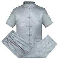 中国风夏季唐装真丝短袖长裤套装男式中老年休闲运动爸爸装太极服