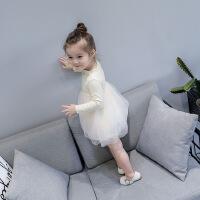 女童长袖连衣裙简约公主裙秋装新款韩版宝宝棉质T恤拼蕾丝裙