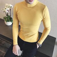 秋季型男士纯色打底衫英伦绅士韩版休闲半高领毛衣男装