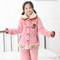 冬季儿童睡衣夹棉三层加厚中大童法兰绒男孩女孩卡通家居服套装