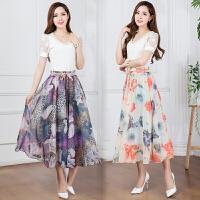 2018夏季新款雪纺长裙波西米亚半身裙夏妈妈裙子高腰裙度假飘逸裙