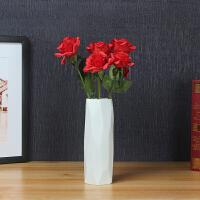 创意北欧干花花瓶陶瓷简约现代小清新餐桌客厅装饰品摆件花艺 无相+5枝红色玫瑰花 【套装】