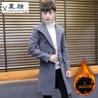 夏妆秋冬季男士中长款呢子大衣韩版青年毛呢外套加厚潮流保暖风衣