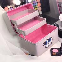 大眼睛化妆包可爱双层大码便携洗漱包收纳折叠手提化妆箱SN5954