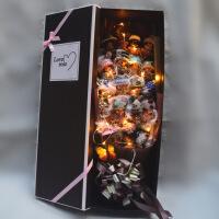????卡通花束水钻蒙奇奇公仔香皂玫瑰礼盒生日情人节圣诞节礼物花束 喜迎国庆 +串灯