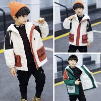 男童工装外套冬季中大儿童装洋气连帽棉衣潮