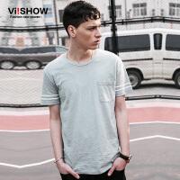 viishow夏装新款短袖T恤 欧美时尚简约短袖男 纯色圆领t恤