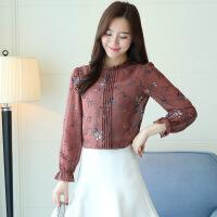衬衫女长袖甜美气质高档立领新款春秋套头碎花色雪纺上衣韩版显瘦 图片色