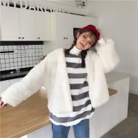 韩观秋冬新款韩版甜美羊羔绒宽松显瘦上衣百搭保暖短款毛毛外套学生潮 白色 均码(160/84A)