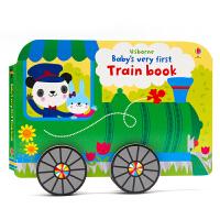 【满300-100】英文原版绘本 Usborne Baby's Very First Train Book 小火车造型书