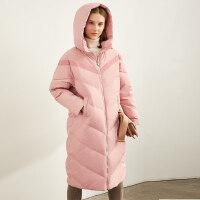 Amii极简韩版气质连帽加厚羽绒服女2020冬新款80绒拉链中长款外套