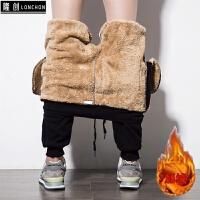 韩版潮流运动裤男加绒加厚大码保暖纯棉卫裤冬季休闲裤小脚裤子男