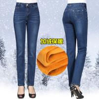 秋冬妈妈装牛仔裤加绒加厚保暖裤中老年女装大码高腰直筒牛仔长裤